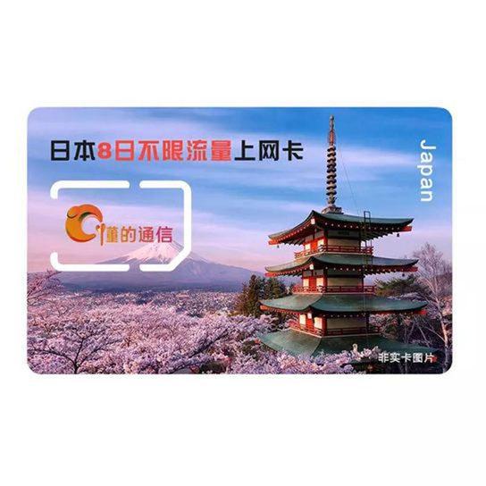 日本8日不限流量上网卡图片